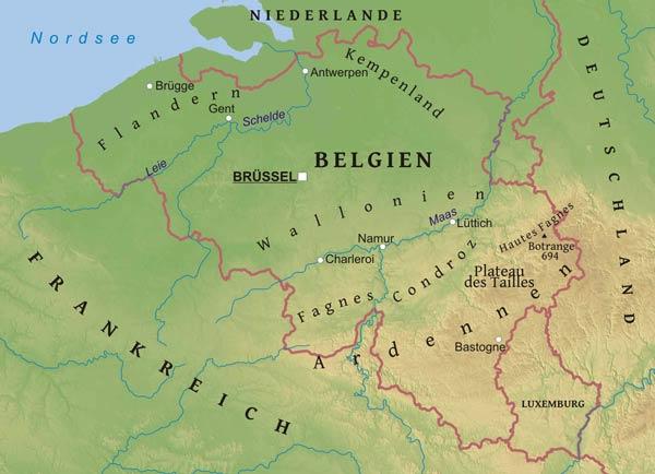 ardennen karte Ardennen Belgien Karte   Kleve Landkarte