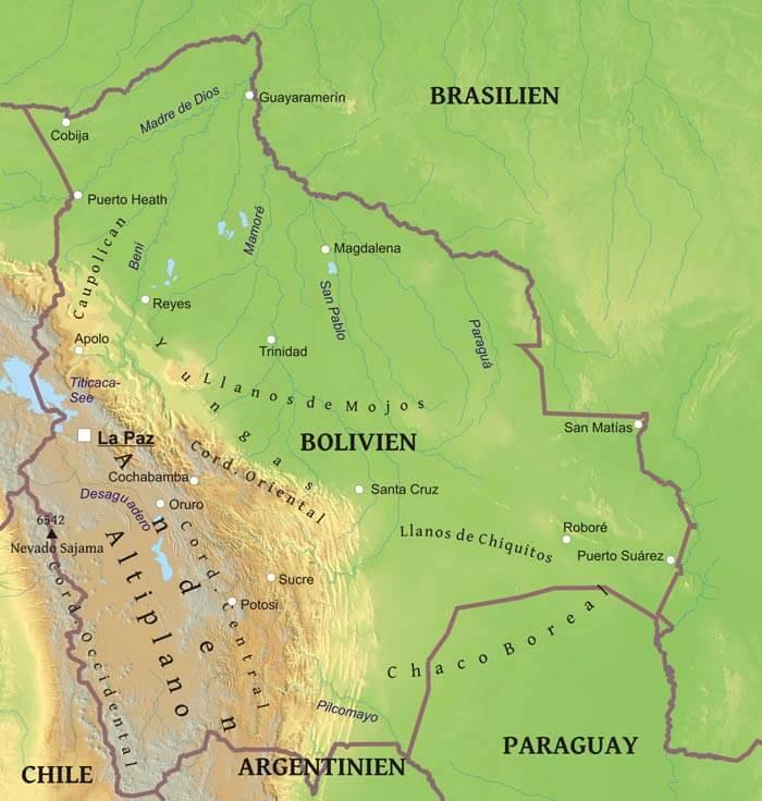 Karte Von Bolivien Freeworldmaps Net