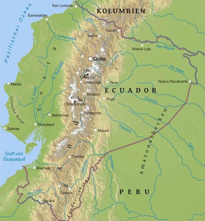 Karte Von Ecuador Freeworldmaps Net