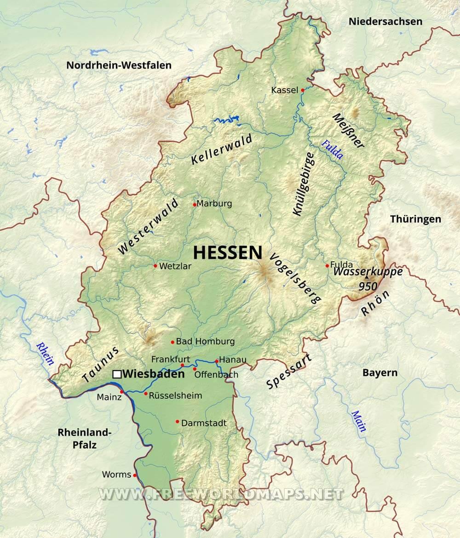 karte hessen Hessen Karte   Freeworldmaps.net