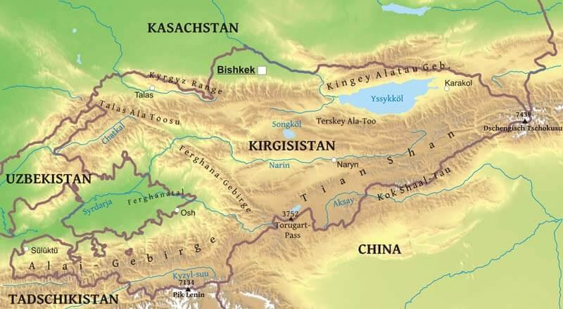 kirgisistan karte Karte von Kirgisistan   Freeworldmaps.net