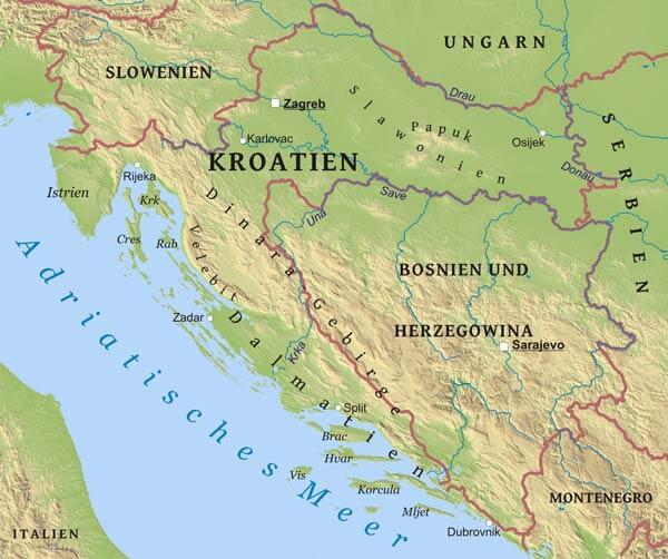 Karte Von Kroatien Freeworldmaps Net