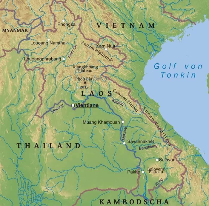 Karte Von Laos Freeworldmaps Net