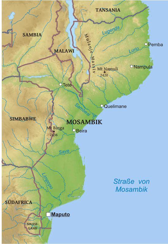 Mosambik Karte.Karte Von Mosambik Freeworldmaps Net