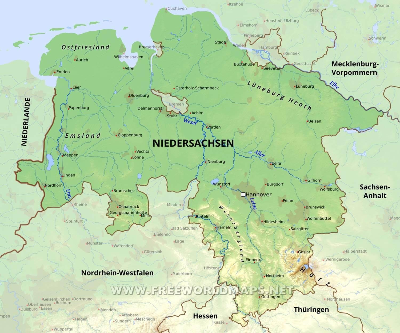 niedersachsen karte Niedersachsen Karte   Freeworldmaps.net