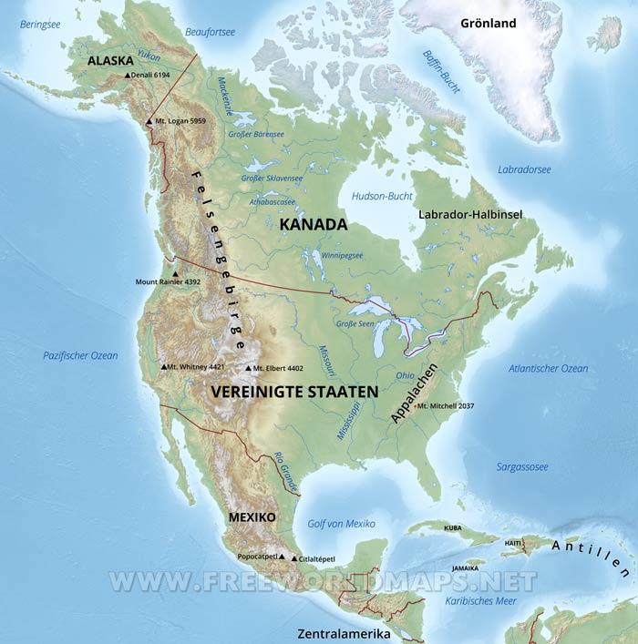 Karte Von Nordamerika Freeworldmaps Net