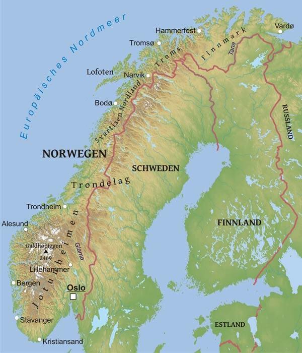 norwegen karte Karte von Norwegen   Freeworldmaps.net