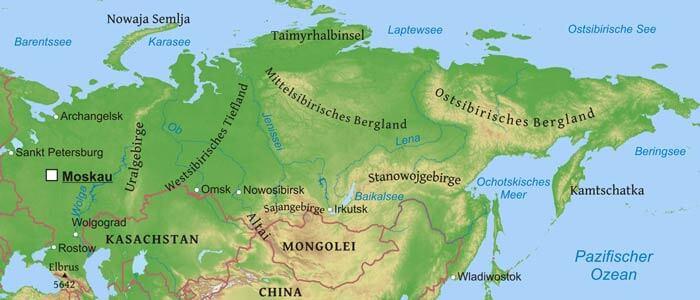 russland physische karte städte