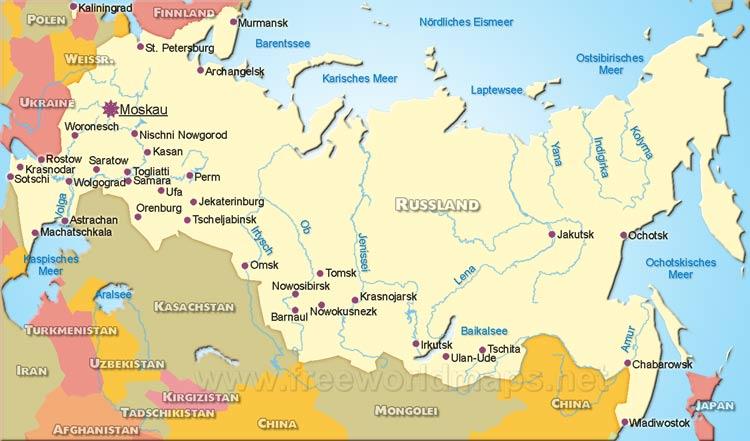 Karte Russland.Landkarte Von Russland Freeworldmaps Net