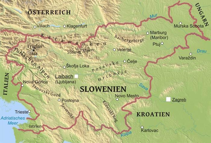 slowenien karte Karte von Slowenien   Freeworldmaps.net