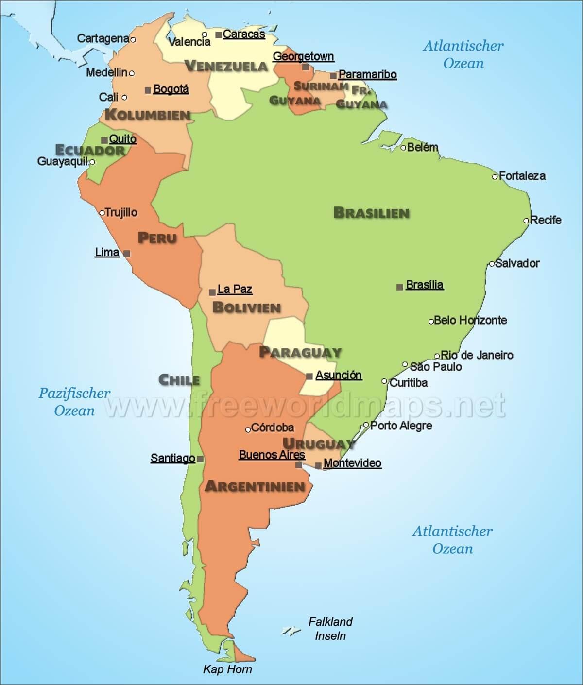Karte Von Sudamerika Freeworldmaps Net