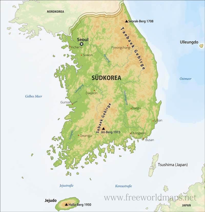 Südkorea Karte.Südkorea Karte Freeworldmaps Net