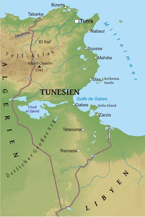 Tunesien Karte.Karte Von Tunesien Freeworldmaps Net