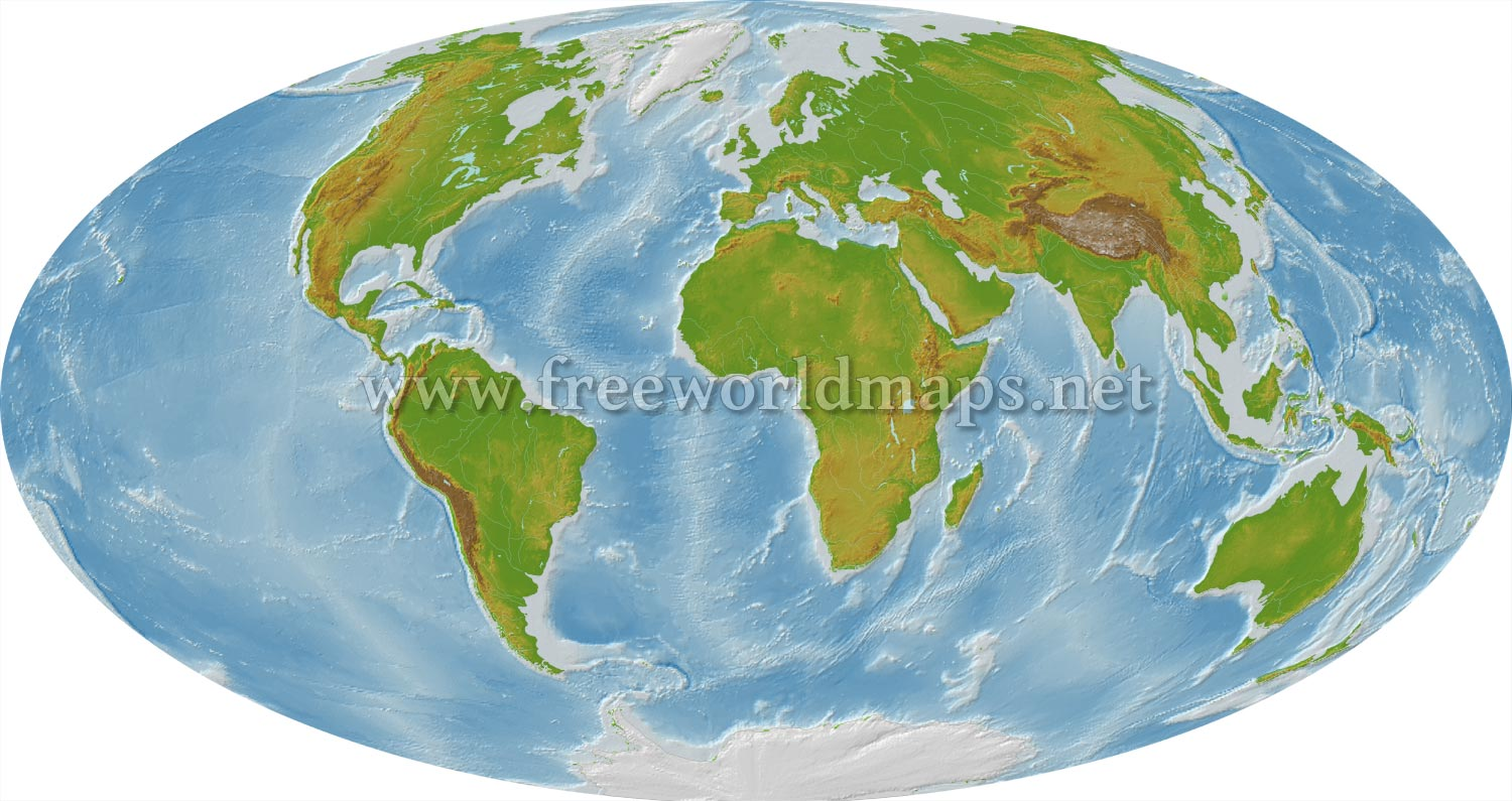 Detailed world map illustrating the physical features of the globe and