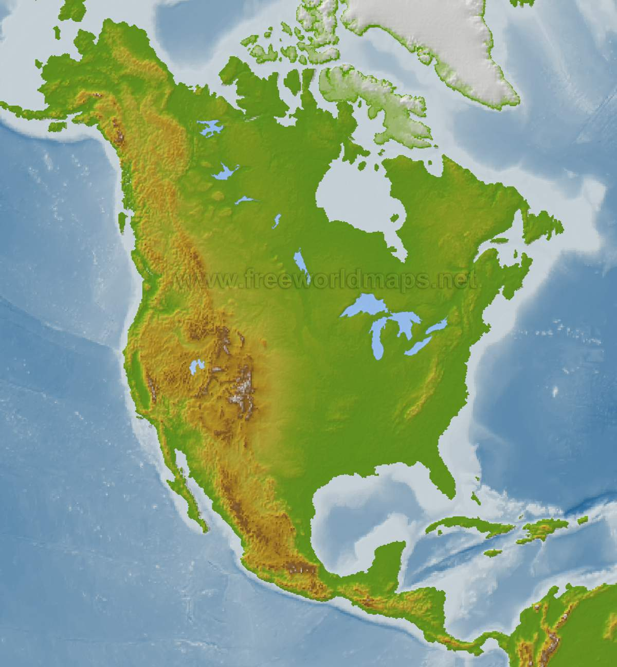 Map Of North America A Source For All Kinds Of Maps Of North America - North america physical map test