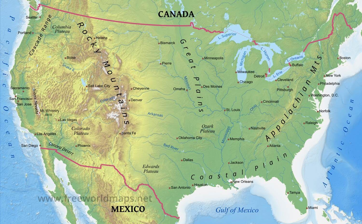 Physical map of usa and canada