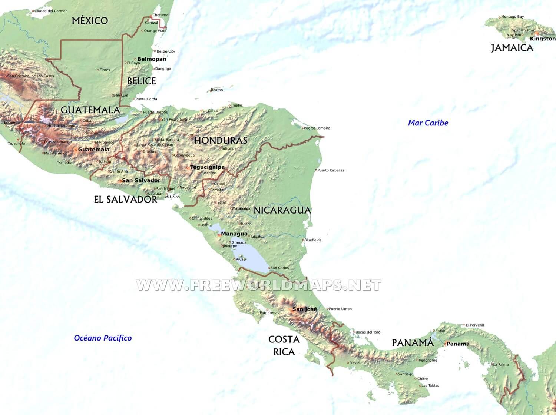 Mapa Fsico de Amrica Central y del Caribe