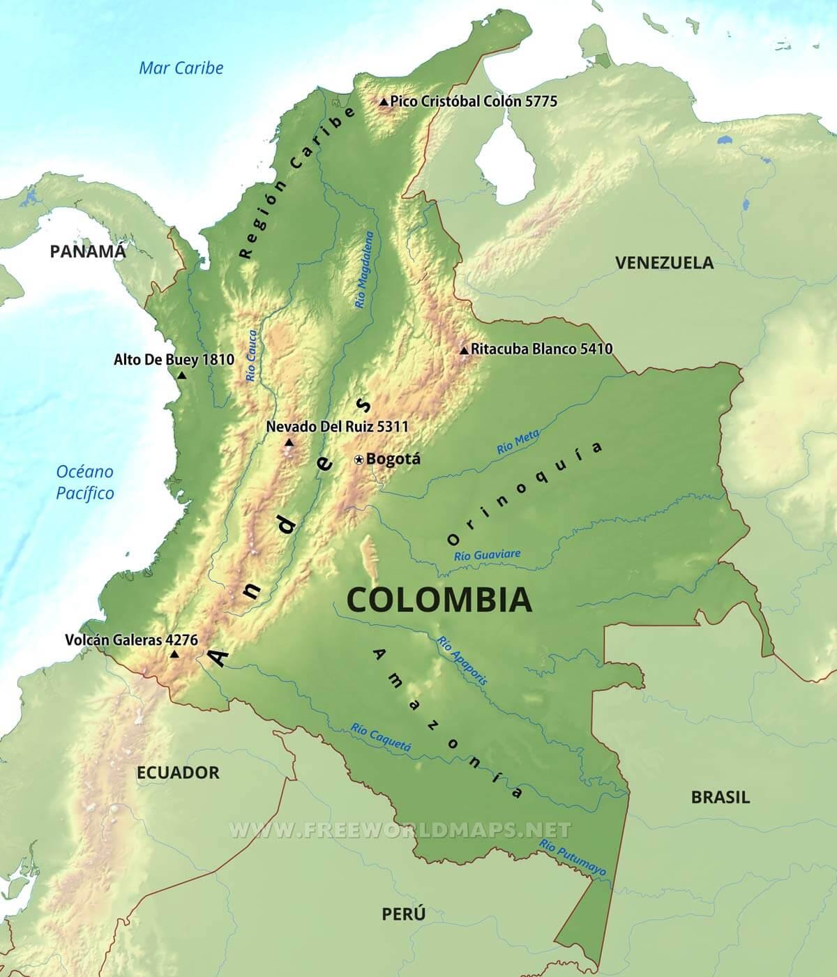 Mapa fsico de Colombia Geografa de Colombia