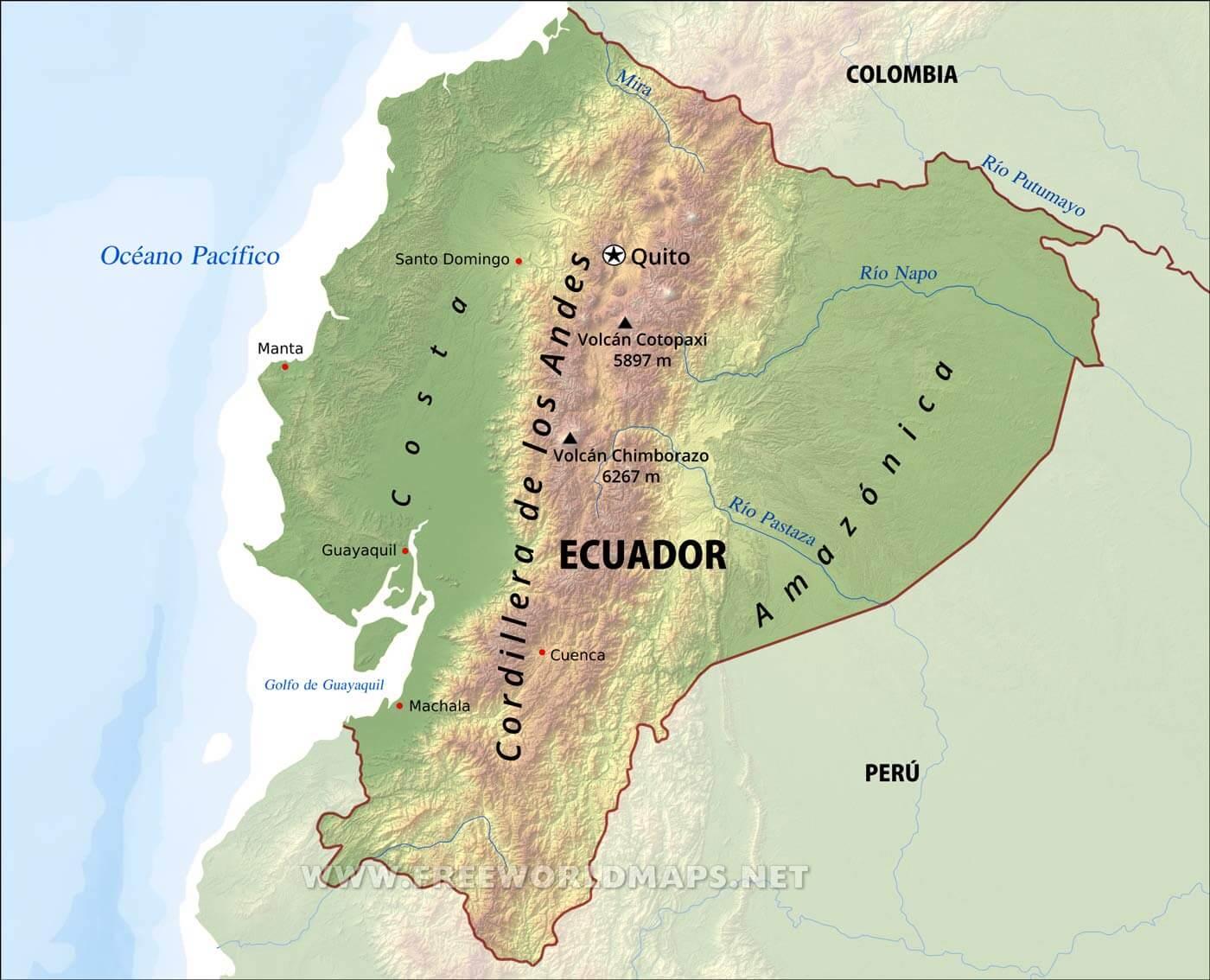 Mapa fsico de ecuador geografa de ecuador ecuador mapa fsico gumiabroncs Images