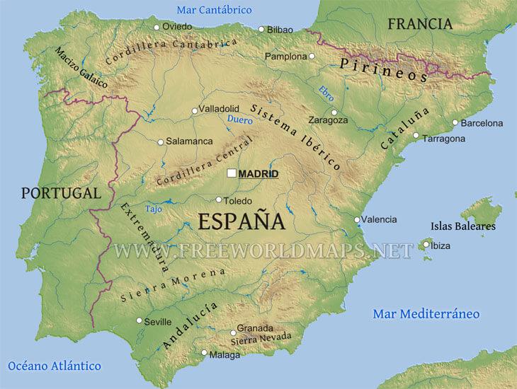 Mapa De España Físico.Mapa Fisico De Espana