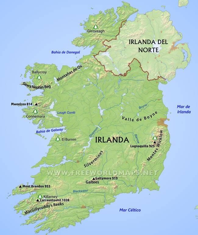 Mapa da Irlanda  Geografa de Irlanda
