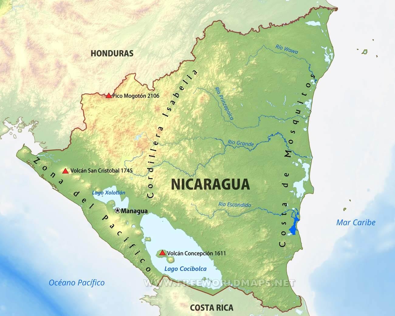 mapa f u00edsico de nicaragua