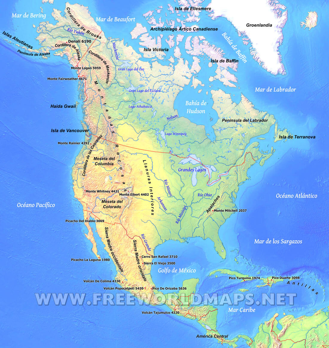 Mapa fsico de Norteamrica