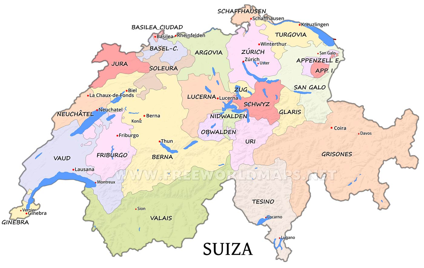 Mapa de Ginebra