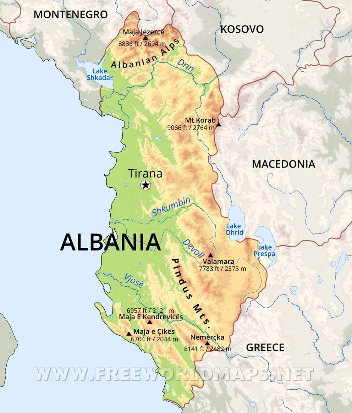 Albania Physical Map
