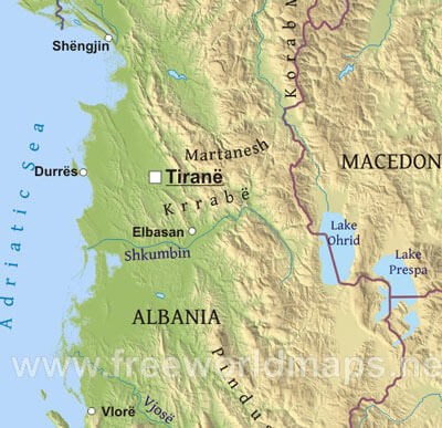 Albania Maps - Albania physical map