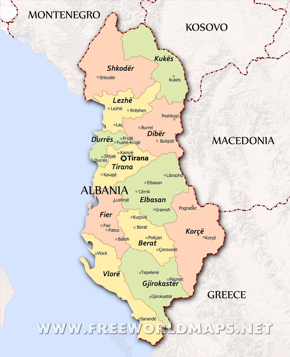 Albania Maps - Political map of albania