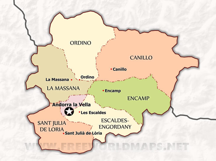 A close-up map of Andorra, showing the 7 main towns and their local borders