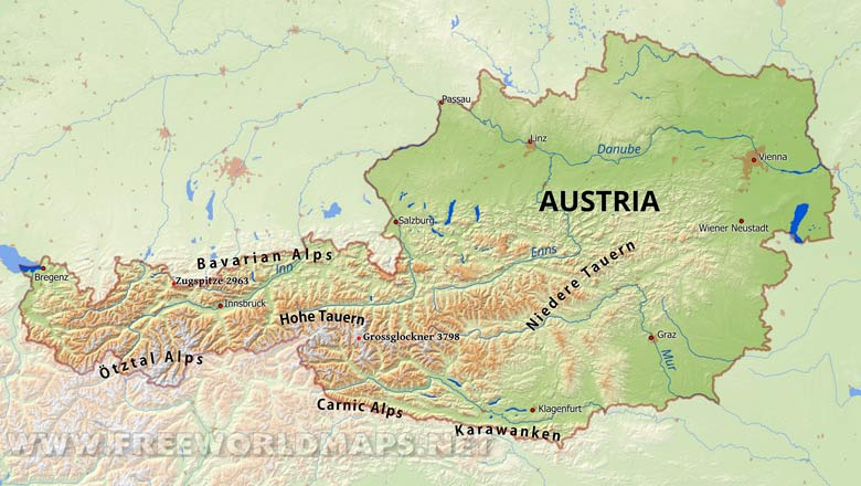 Austria Physical Map - Free World Maps – Atlas of the World