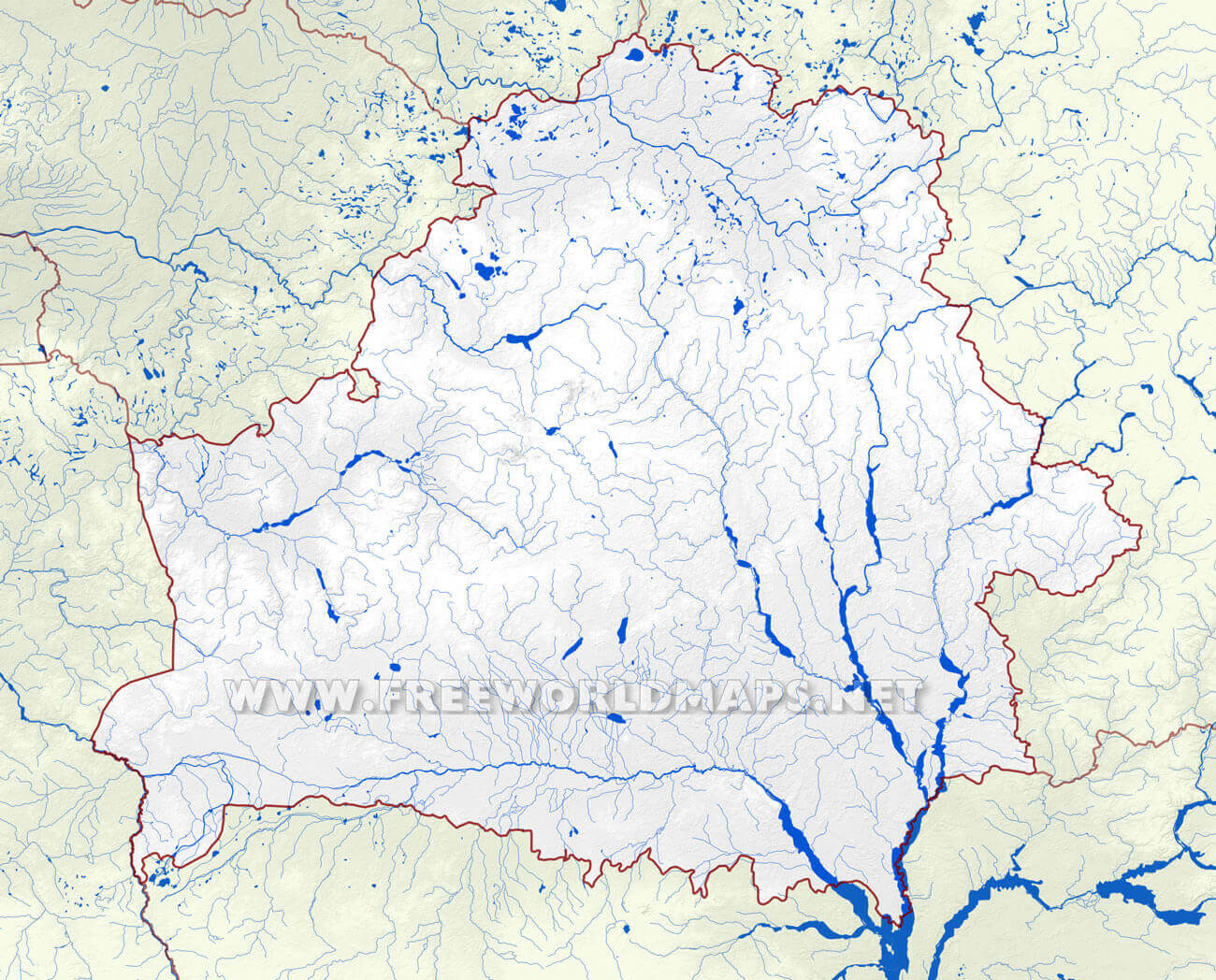 Belarus physical map belarus rivers map showing the major rivers and hydrography of belarus sciox Images