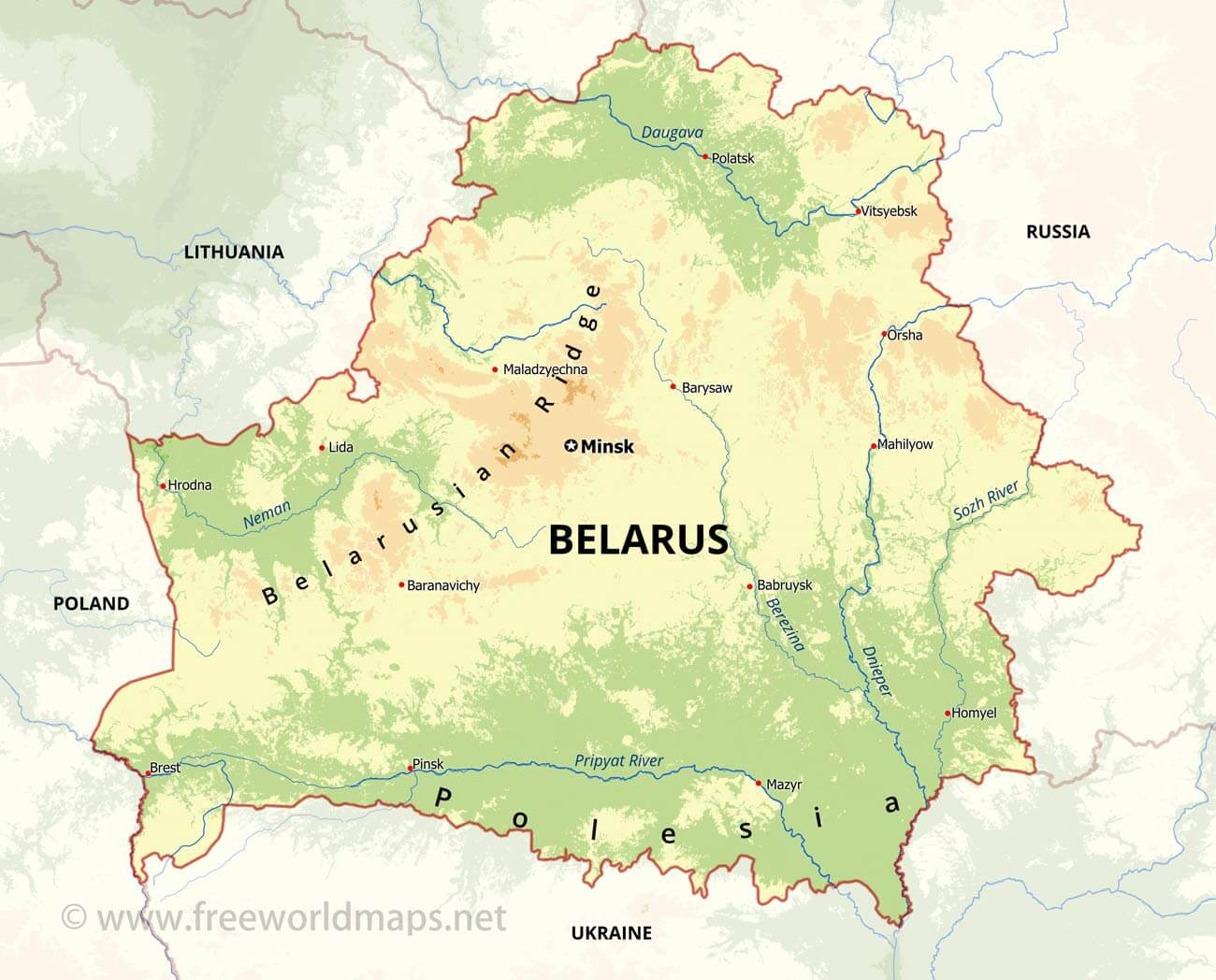 Belarus physical map sciox Images