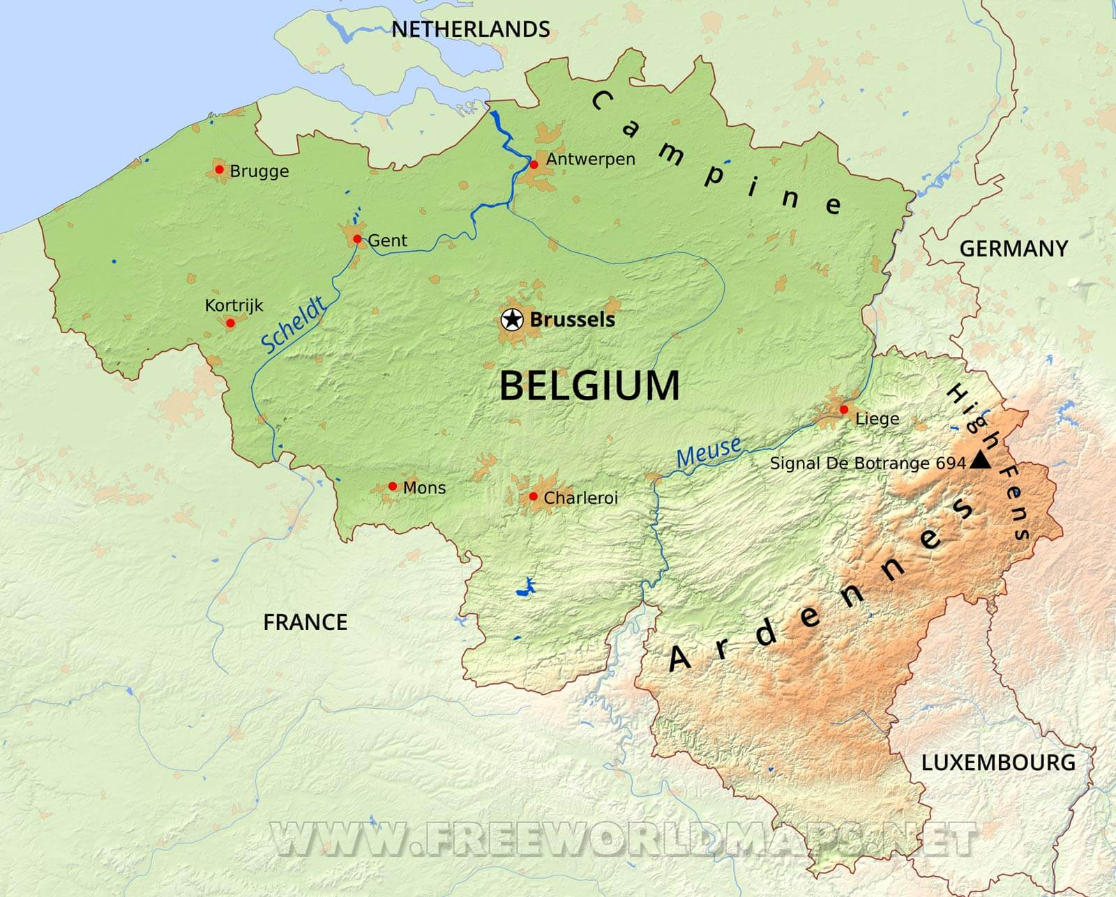 Belgium Physical Map – Map of Belguim