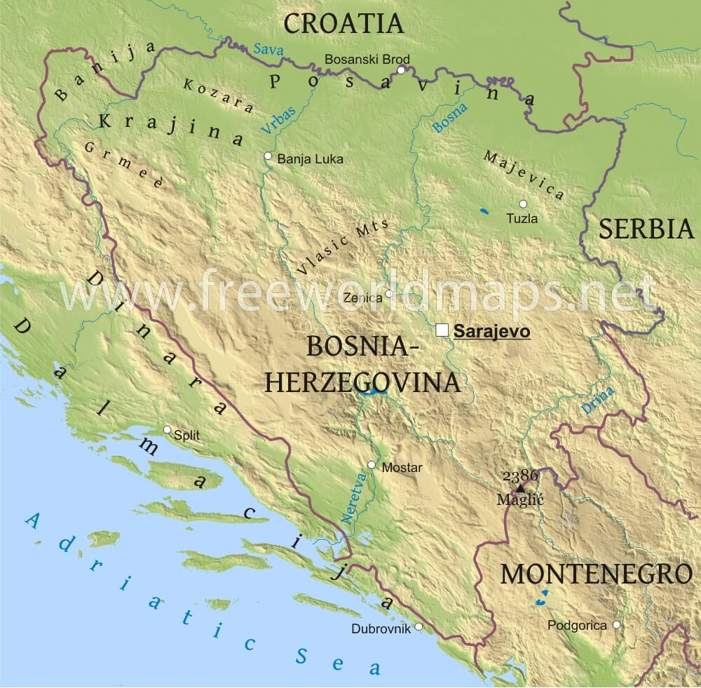 Bosnia Physical Map - Croatia physical map