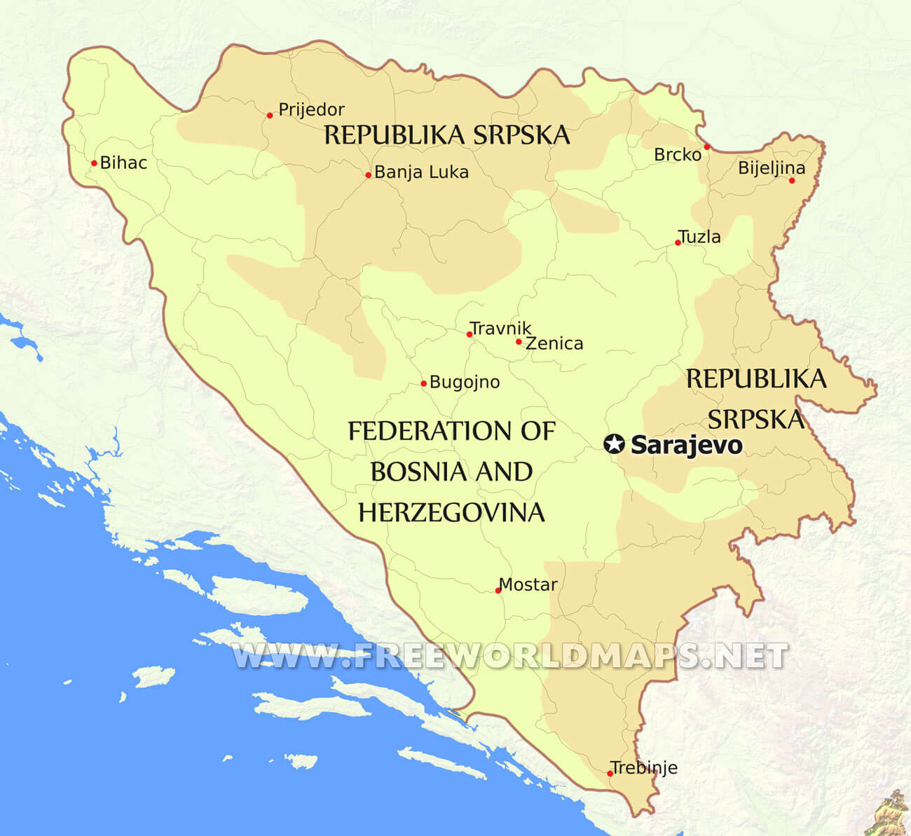 Bosnia Political Map