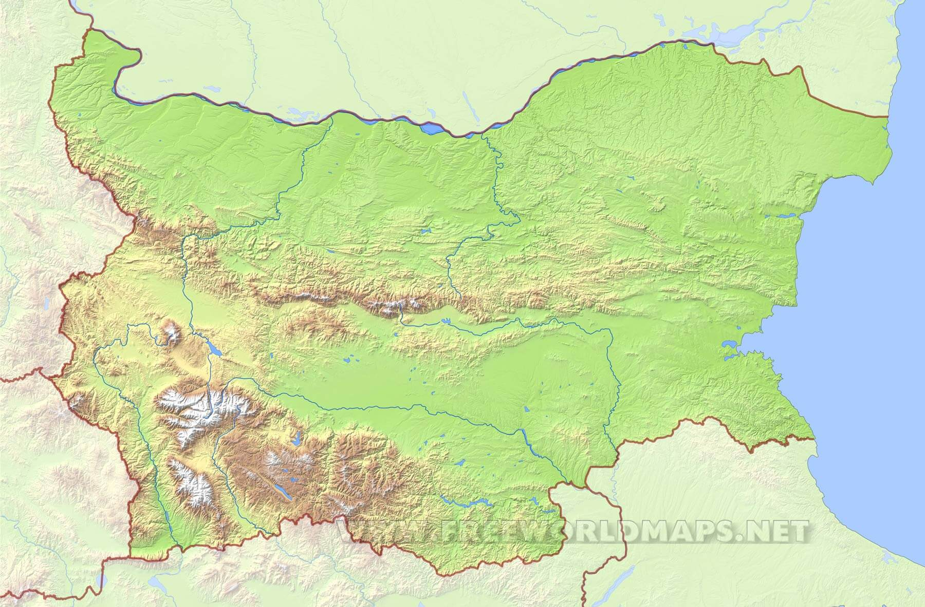 Bulgaria Physical Map - Map of bulgaria