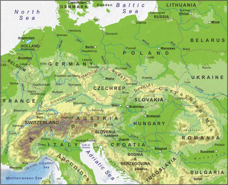 Central europe physical map central europe blank physical map central europe geography sciox Images