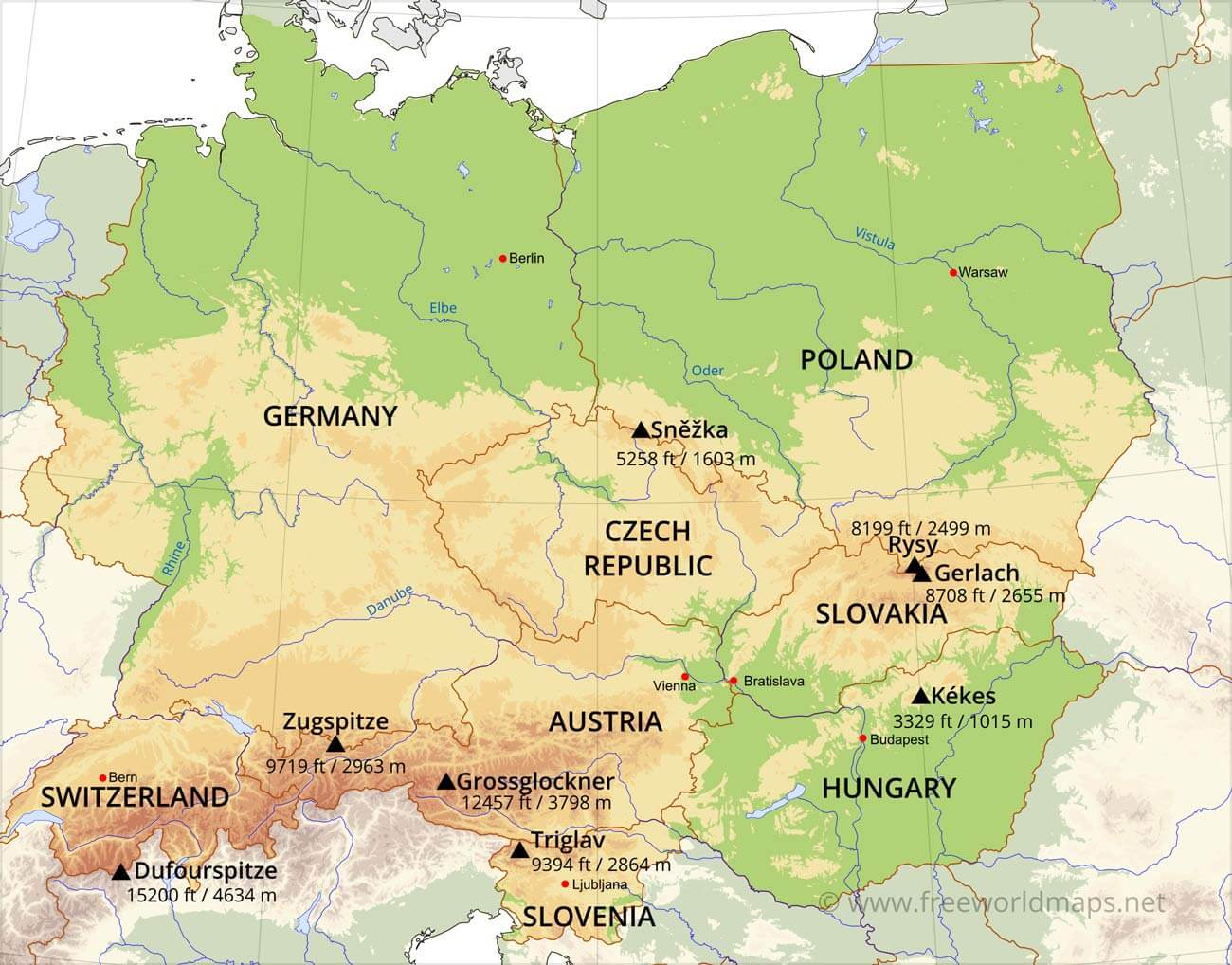 Central Europe Physical Map – Geographical Map of Eastern Europe