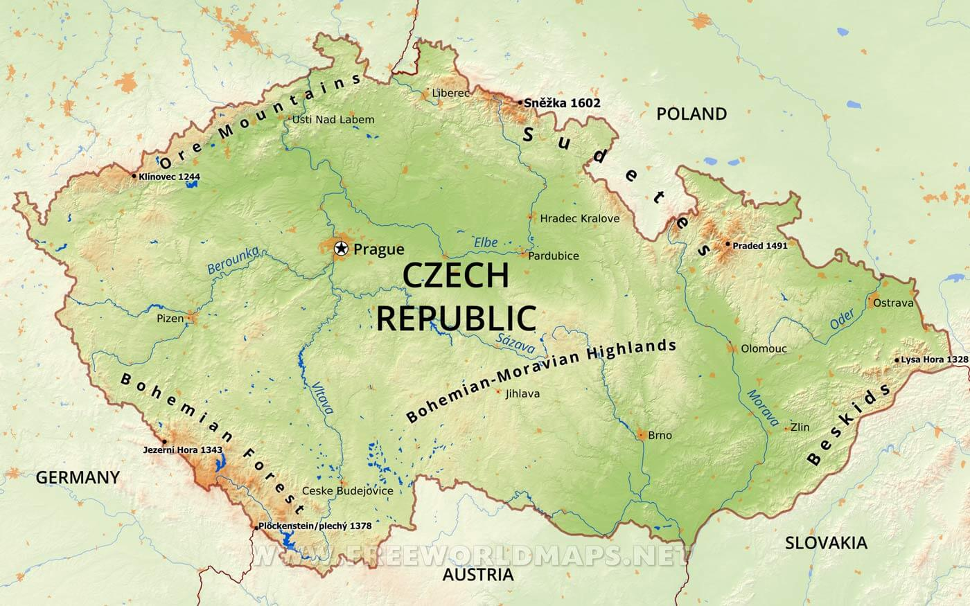 Physical map of Czech Republic, equirectangular projection