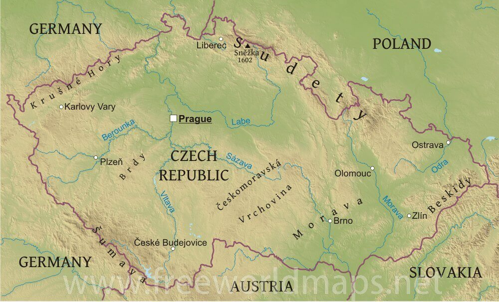 Czechia Physical Map - Austria physical map