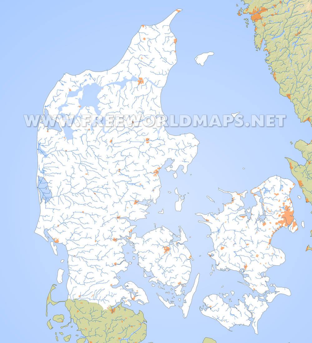 Denmark physical map denmark rivers map showing the major rivers and hydrography of denmark gumiabroncs Choice Image