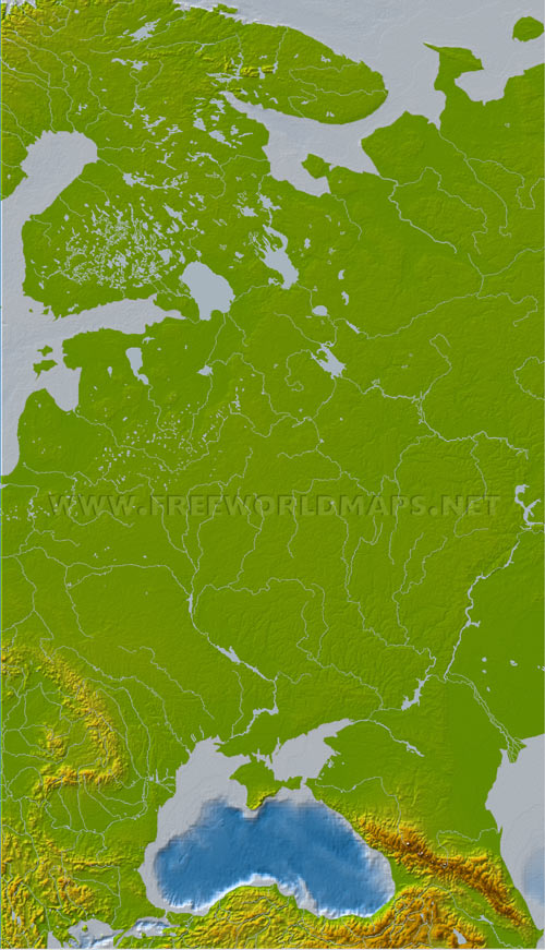 Eastern Europe Physical Map – Geographical Map of Eastern Europe