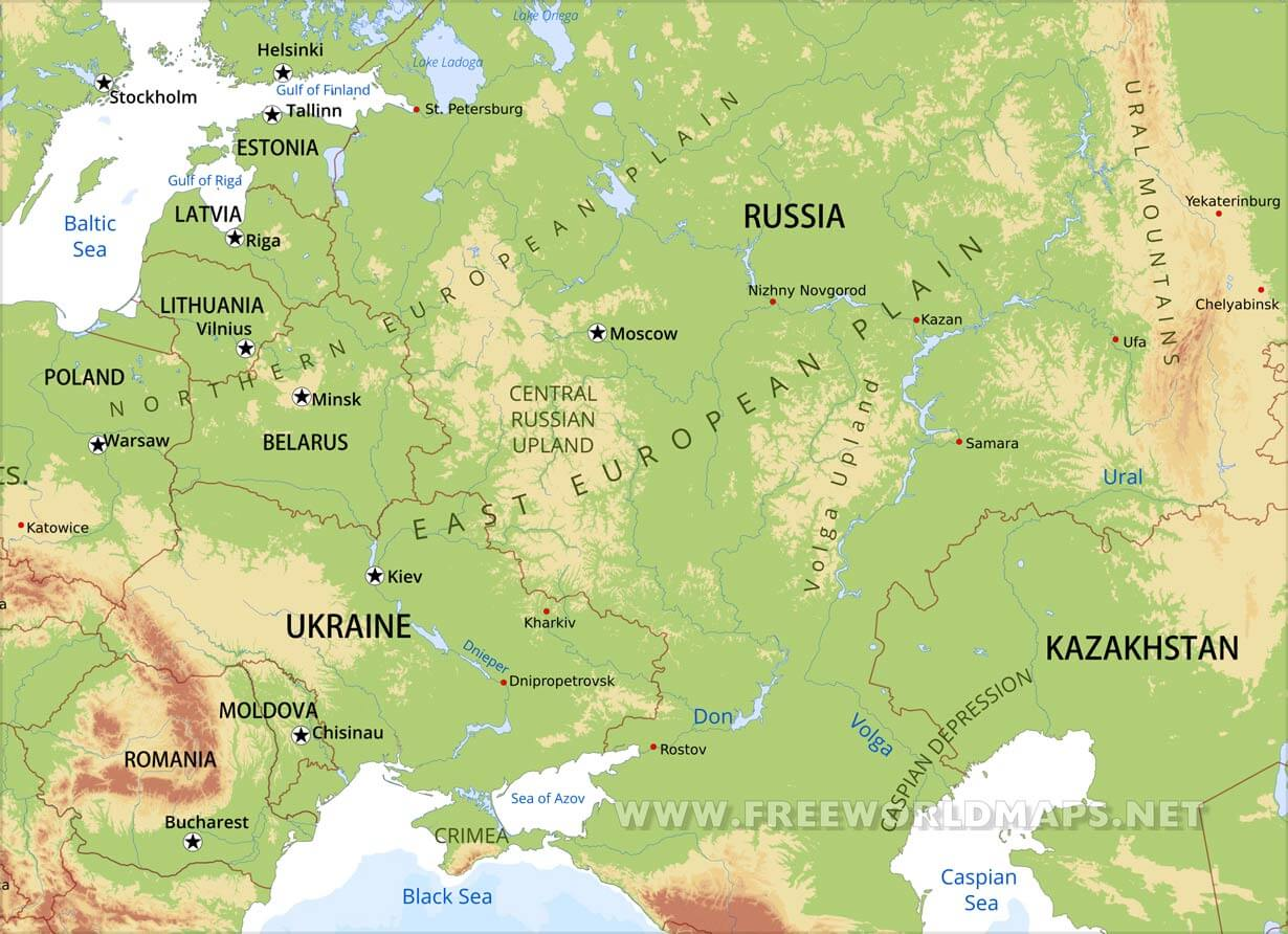 Eastern Europe Physical Map