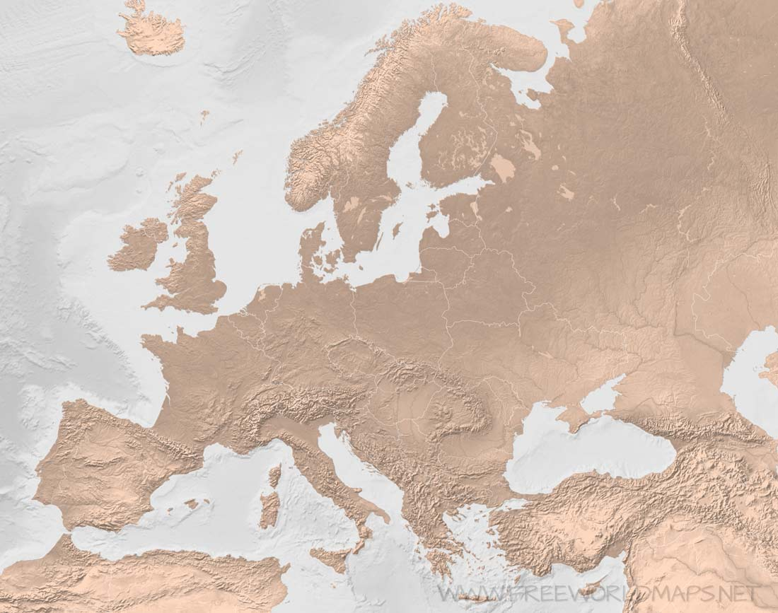 Blank Map Of The World No Borders.Europe Blank Map