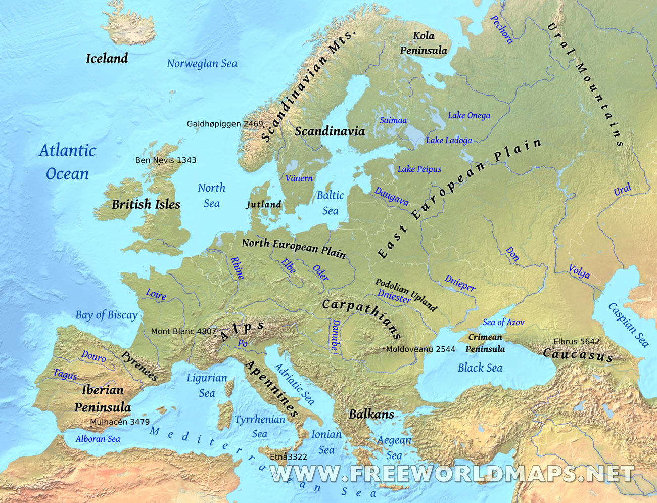 Europe Physical Map Freeworldmapsnet - Europe physical map