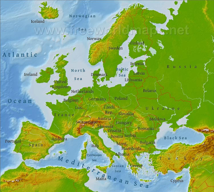 Europe physical map freeworldmaps europe physical map gumiabroncs Images