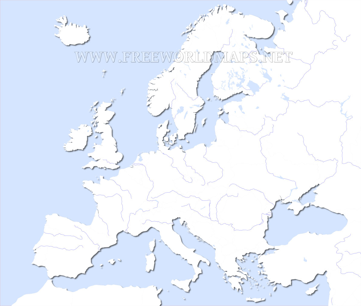 Blank Outline Map Of Europe With Rivers